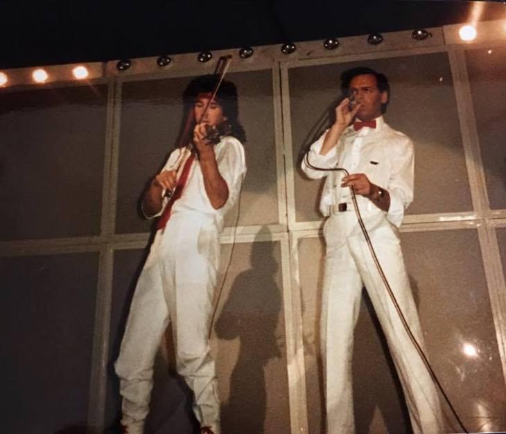 Payne & Numan on stage 1985 Fury tour